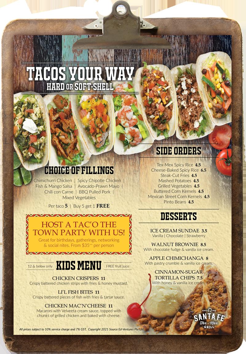 Santa Fe Menu, Sep 2021, Pg 3 (Tacos, Sides, Kids, Desserts)